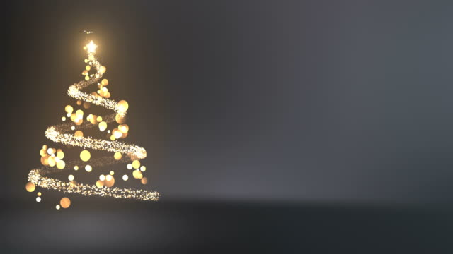 4k Abstract Christmas Tree With Copy Space (Silver / Gray) - Loop