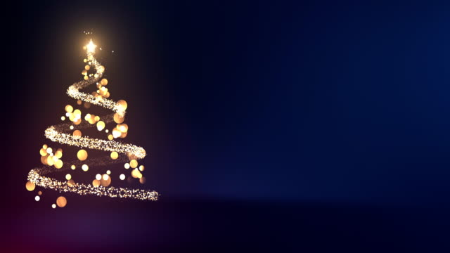 4k Abstract Christmas Tree With Copy Space (Blue) - Loop