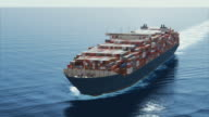 4k aerial shot - big container ship