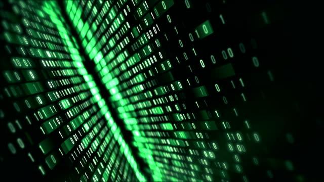 4k Binary Code Loop (Green): Data Transfer, AI, Cloud Computing