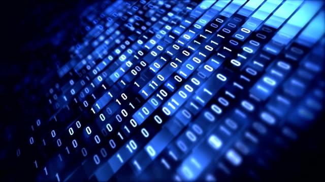 4k Binary Code Loop (Blue): Data Transfer, AI, Cloud Computing