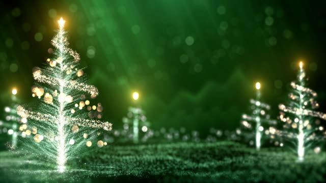 4k Christmas Trees Background (Green) - Loop