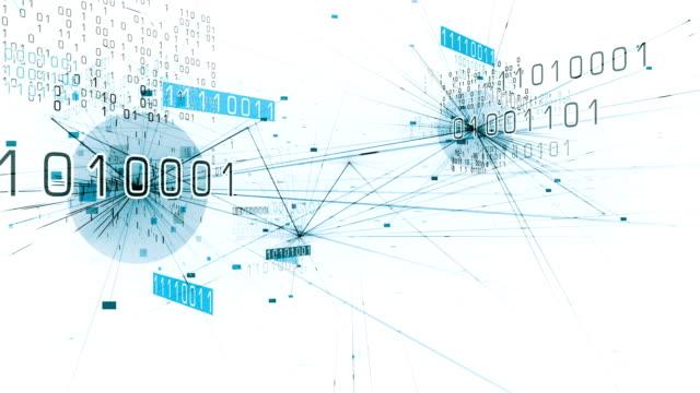 4k Flying Through Binary Network (White) - Loop