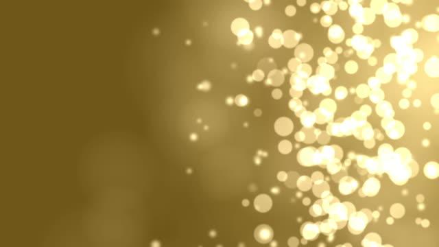 4k: Gold Abstract Lights bokeh. Seamless Loop