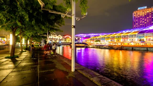 4 k hyperlapse van Clarke quay toeristische haven in Singapore