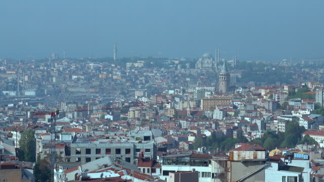 4k Istanbul Skyline - Galata Tower and Hagia Sophia Aerial View