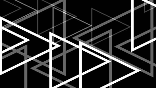 4 k moderne witte driehoeken Abstract achtergrond op zwart