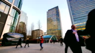 4k Movement of business people in office building zone, London, England