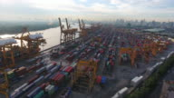 4k resolution ariel view of Bangkok port Thailand