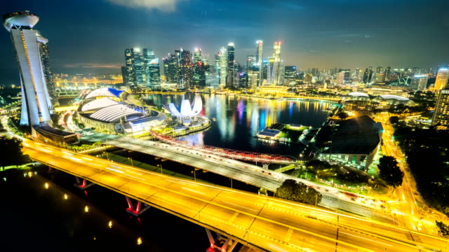 4k Singapore Aerial Panorama view at Night time-lapse or Hyperlapse