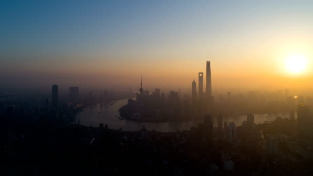 4k time lapse by drone: shanghai city morning