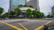 4 k time-lapse van het drukke verkeer en moderne gebouwen in Singapore