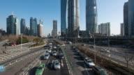 4k, Time Lapse , Shanghai city skyline night road traffic flow