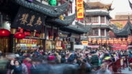 4k, Time Lapse , Shanghai Yuyuan Garden in New Year