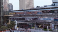 4k Time-lapse day to night business zone ,sky train station,Thailand transportation