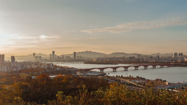 4k time-lapse morning Seoul City river view