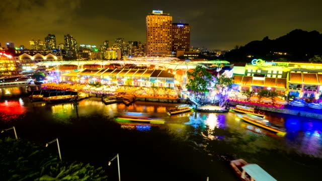 4 k Timelapse van Clarke quay toeristische haven in Singapore
