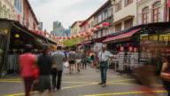 4k Zeitraffer krähte Menschen in Chinatown in Singapur