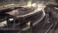 4k Timelapse passenger train arrives and departs station