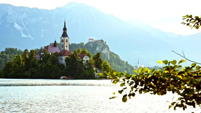 4k view of the bled lake in slovenia