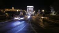 4K:Budapest Hungary Chain bridge at night time-lapse movement