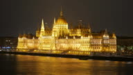 4K:Budapest Hungary parliament and danube river at night