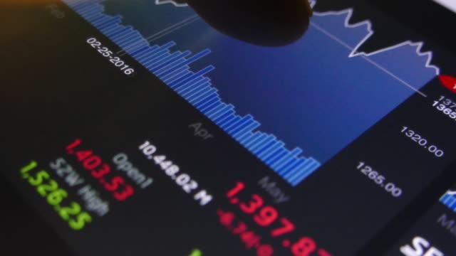 4 K: Geschäftsmann schaut an Diagramm Marktdaten
