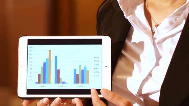 4K:Businesswoman presenting her digital table with a graph