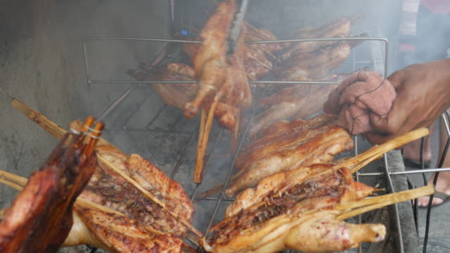 4K:Chicken meat on barbeque grill