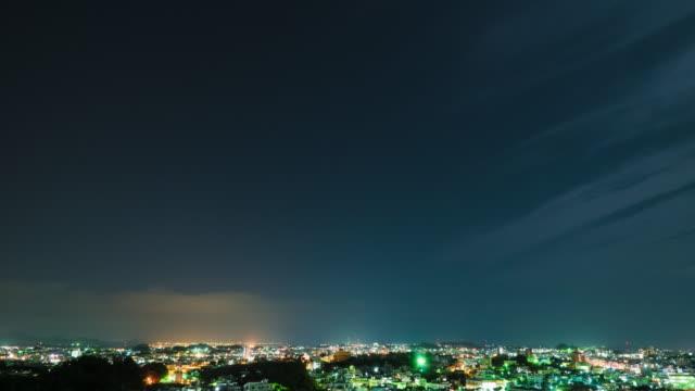 4K,T/L,city and dark sky at night.