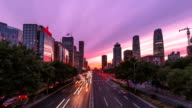 4K-day to night on Beijing Central Business district buildings skyline, China cityscape