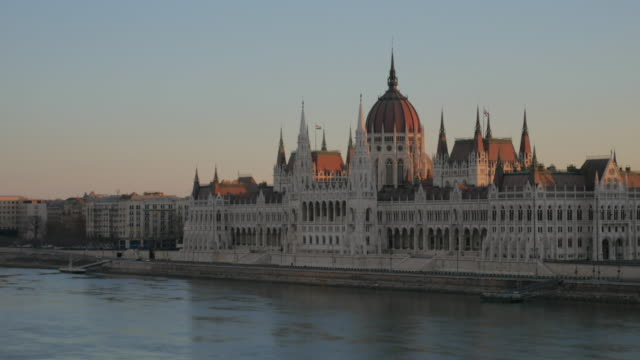 4K:Hungarian Parliament time-lapse and sunrise blue sky
