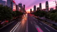 4K-nacht van Peking Central Business district gebouwen skyline, China stadsgezicht