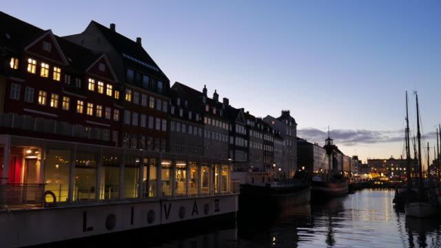 4K:Nyhavn in Copenhagen, Denmark at night time