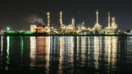 4K:Oil Industry at night, time lapse