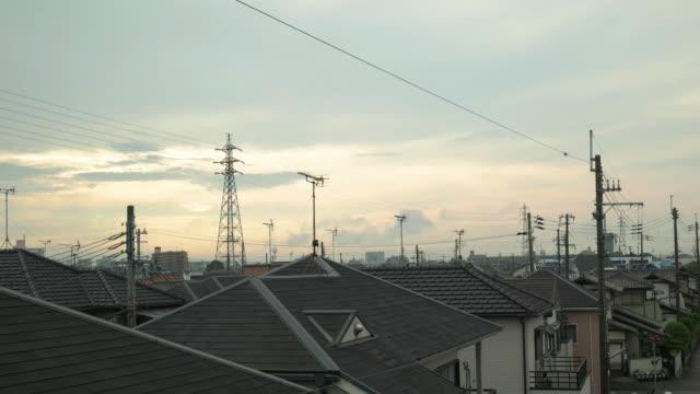 DCI 4K, Residence gebied en lucht in de ochtend. Kakogawa, Hyogo, Japan