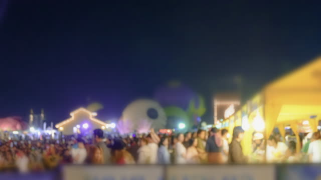 4K:Time Lapse of people walking at Night market.