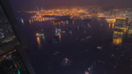 4K-timelapse : After sunset from sky100 , Hong kong busy city