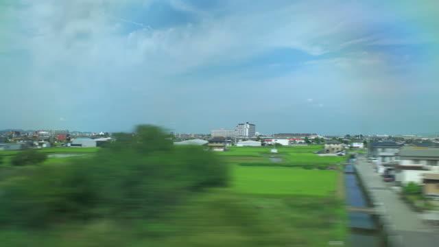 4 K, Blick vom Shinkansen window.Japan.