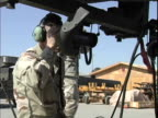 4th May 2005 MONTAGE US Soldiers calibrating AH64 Apache 30mm gun gunner inside cockpit coordinating with soldiers doing calibration / FOB Speicher...