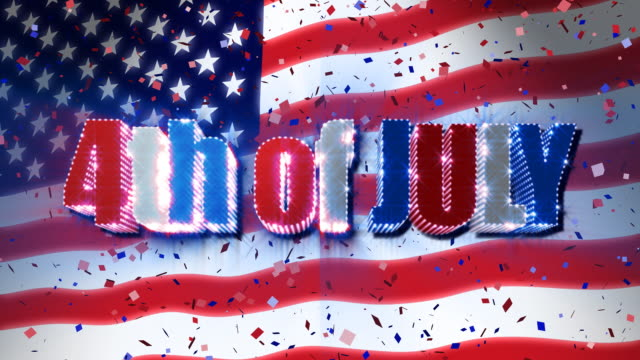 4th of July with USA Flag & Confetti