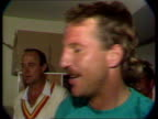 4th Test England team celebrating after keeping The Ashes Intvw Ian Botham Pop singer Elton John with the England team as pours drink onto his suit...