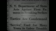 5th Avenue amp E 45th Street sign EXT Office building Strikebreaker Pearl Louie Bergoff talking on telephone Newspaper headlines 'License...