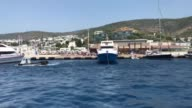 A ferry carrying 205 Turkish citizens arrives at a coastal city of Aegean province of Mugla on July 21 2017 as they were stranded in Greek island of...