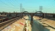 ZO, WS, 6th Street Bridge viaduct above Los Angeles River concrete flood control channel, Los Angeles, California, USA