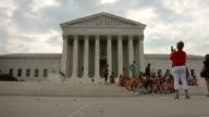 WS a group of tourists pose for a photograph in front of the US Supreme Court The high court ruled today by 7 to 2 margin that homeowners in North...