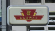 ECU of a sign for the TTC Subway in Toronto Canada