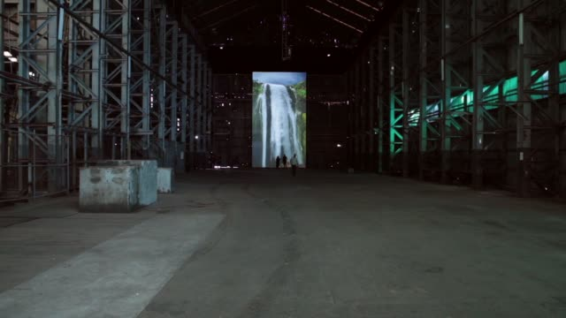 RIVER a video installation by Eva Koch viewed by press in the Turbine hall on Cockatoo Island Sydney Harbour