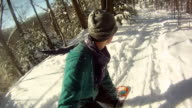 POV of a young man snowboarding through trees and jumping in the winter. - Slow Motion - Model Released - HD