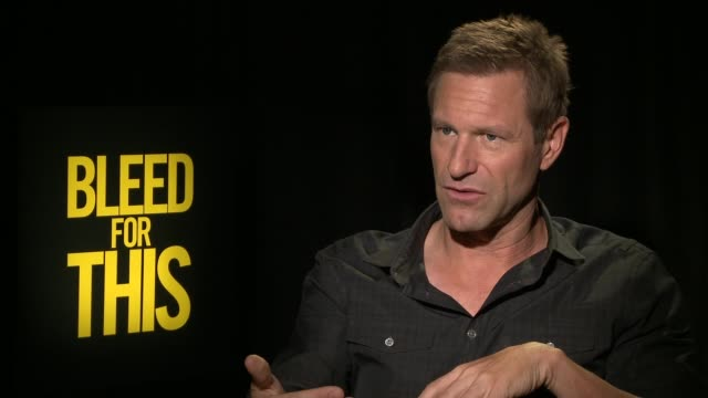 INTERVIEW Aaron Eckhart at the 'Bleed For This' Press Junket on October 30 2016 in Los Angeles California